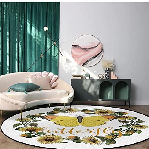 Alfombras Redondas Blancas de Girasol con Corona de Flores de Mariposa Alfombra para Sala de Estar Dormitorio Silla Antideslizante Alfombrillas para niños Felpudo para habitación-D 100