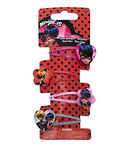 Joy Toy 65981 Figuren & Charactere Miraculous Haarspangen - 4 Motive - auf backercard 5x1x15 cm, girls