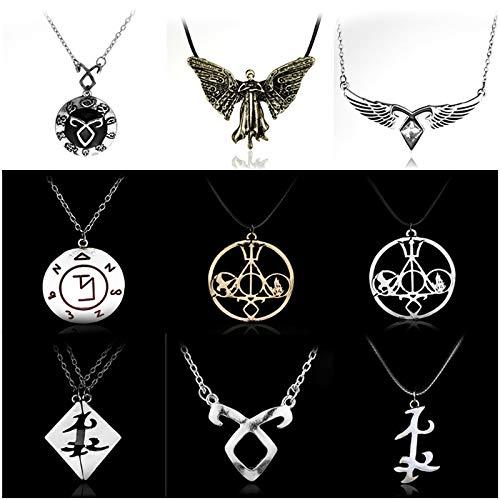 ABRC Los trumentos Mortal Ciudad de Collar de Huesos Vendimia angelical Poder Runas Shadowhunters Hombres y Mujeres Pendientes de Regalo -30