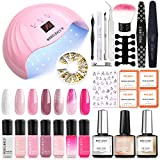 Gel Nail Polish Kit with 48W UV Light Starter Kit Modelones Gel Polish Set- 7 Colors with 10ml Nail Primer and Base Top Coat, LED Nail Lamp with Upgraded Manicure Tools