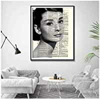 オードリーヘップバーンウォールアートファッションポスタープリントアートファッション装飾絵画モダンアートキャンバス絵画-60x80cmフレームなし