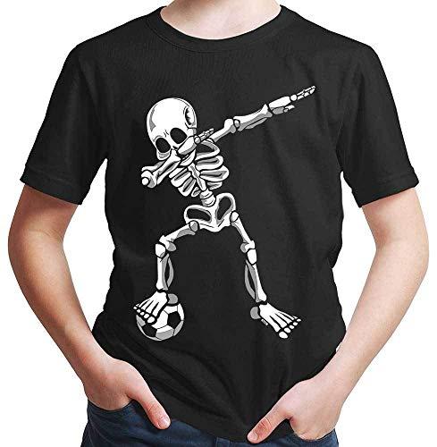 HARIZ Jungen T-Shirt Dab Skelett mit Fussball Dab Dabbing Dance Halloween Plus Geschenkkarten Schwarz 152/12-13 Jahre