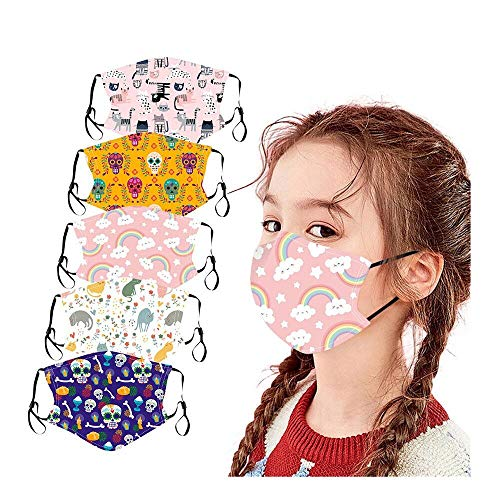 HUYURI 5 Stück Kinder Face Bandanas Wiederverwendbar waschbare Atmungsaktive Baumwolle Bunte Mode Niedlich