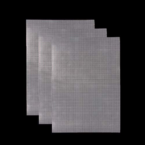 "wexpw 3 Pieces Big Size Plastic Mesh Canvas Sheets Kit Clear Plastic Canvas for Embroidery, Acrylic Yarn Crafting, Knit and Crochet Projects, 20 x 13"" - Clear"