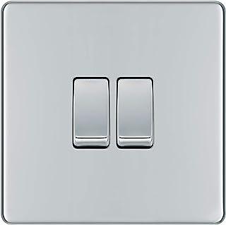 BG Electrical Screwless Flat Plate Double Light Switch, Polished Chrome, 2-Way, 10AX
