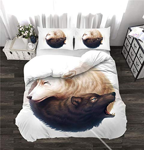 Duvet Cover Super King Size Wolf Bedding 3-piece set, 1 Microfiber 220 x 260 cm Quilt Cover and 2 Pillowcases 50 x 90 cm with Zipper Closure printing Duvet Cover set