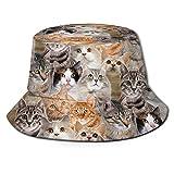 Cats Pattern Lot of Funny Bucket Hat Packable Summer Travel Beach Sun Hat Boonie Cap for Women Men Children