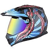 KAISIMYS Casco de Motocross para niños y jóvenes, Casco de Calle Todoterreno Modular de Doble Lente para Adultos Unisex, Casco de Moto de Nieve ATV Casco de Rally Todo Terreno Certificación Dot, 4, L
