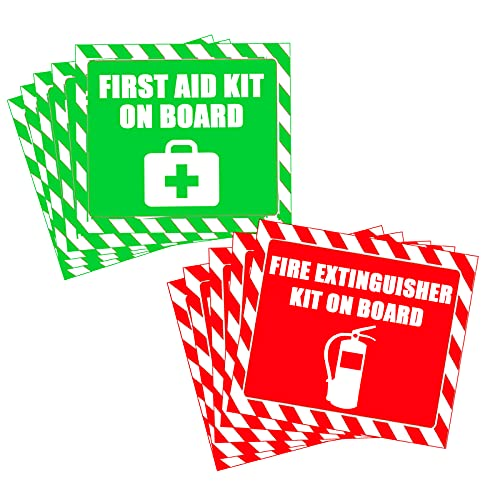 First Aid Sticker Signs,First Aid Kit On Board Fire Extinguisher On Board Stickers,4 Inch Stickers 12 Pcs Per Pack.