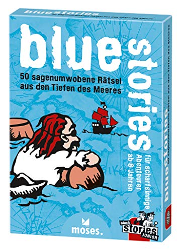moses. black stories Junior blue stories | 50 sagenumwogene Rätsel | Das Rätsel Kartenspiel für Kinder