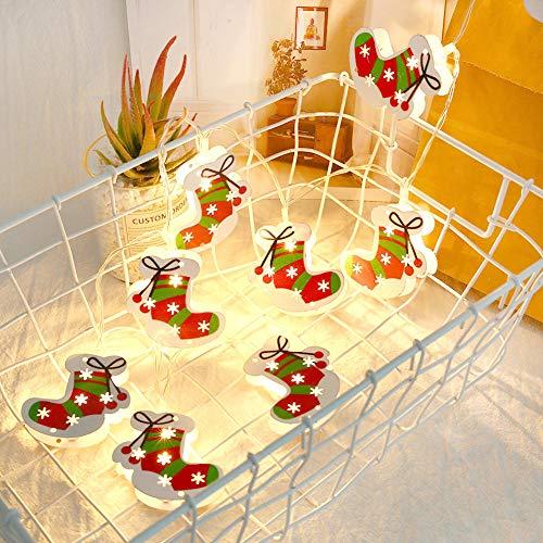 Weihnachts dekoration, Danolt 7,2 ft 10 LED Mini Weihnachtsmann Glocken Socken Lichterkette Batterie betreiben romantische Dekoration für zu Hause Weihnachtsfeier Festival Geschenk.