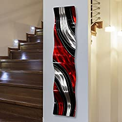 Modern Red, Black and Silver Vibrant Metal Wall Wave Accent - Abstract Contemporary Hand-painted Home Office Decor Sculpture - Critical Mass Wave by Jon Allen - 46 x 10