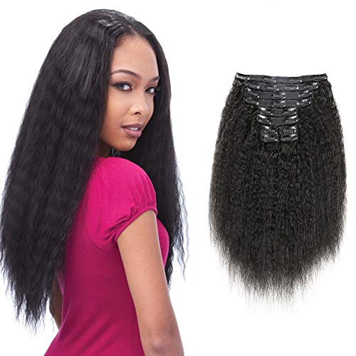 Alishow Hair Kinky Straight Clip In Human Hair Extensions Clip Ins Human Hair 8A Italian Coarse Yaki Brazilian Virgin Hair Clip In Extension 7pcs/lot,120gram/set