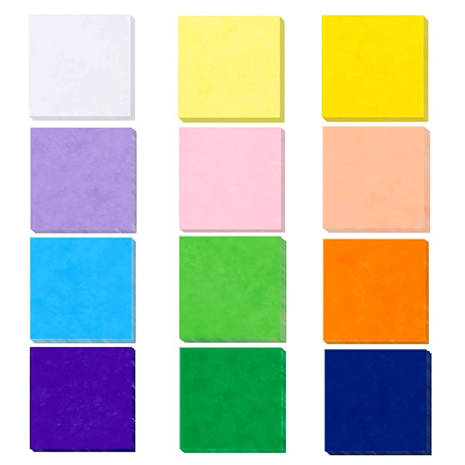 Outuxed 4800Pcs 1-Inch Tissue Paper Squares, 12 Assorted Colors for Arts Craft DIY Scrapbooking Scrunch Art