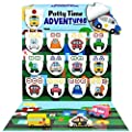LIL ADVENTS Potty Time Adventures Potty Training Game - 14 Wood Block Toys, Chart, Activity Board, Stickers and Reward Badge for Toilet Training - Busy Vehicles by LIL ADVENTS, LLC