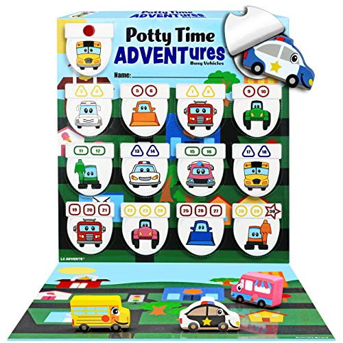 LIL ADVENTS Potty Time Adventures Potty Training Game - 14 Wood Block Toys, Chart, Activity Board, Stickers and Reward Badge for Toilet Training - Busy Vehicles (Laminated Wood Seat)