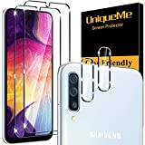 [4 Pack] UniqueMe 2 Pack Protector de Pantalla Compatible con Samsung Galaxy A50 y 2 Pack Protector de lente de cámara Cristal Templado, [Cobertura máxima][Sin Burbujas] HD Vidrio Templado