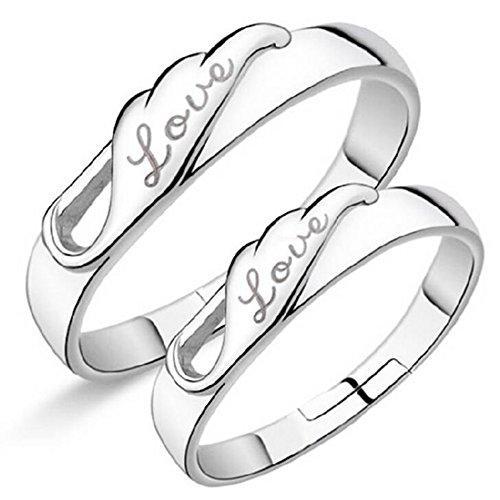 Impression 1Paar Ringe Ring Glas-Engel Diamant-Ring Mode-Ring Schmuck-Girl Zubehör Valentinstag-Geschenke Hochzeit Ring offen Silver Modelle paar