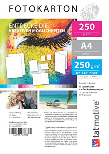 TATMOTIVE F01M250 Fotokarton Fotopapier 250g matt weiß/Laserdrucker/DIN A4 / Beidseitig bedruckbar / 250 Blatt