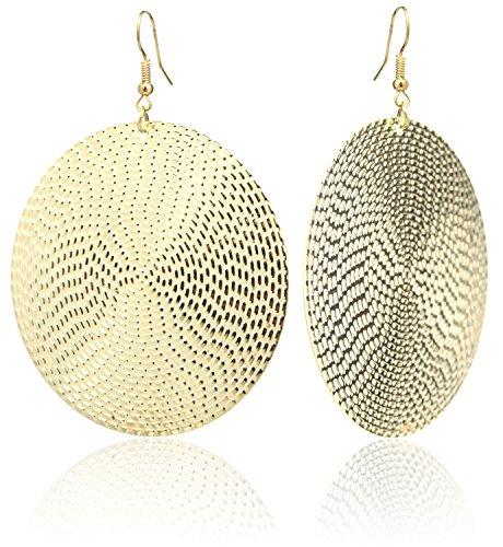 2LIVEfor Ohrringe Blatt Gold Rund Ohrhänger Retro Ohrringe Blätter gold Vintage Groß Kreis Rund geometrisch modern Ohrhänger