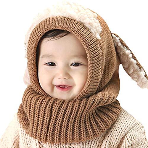 Fiaoen Kinder Süße Warme Kopfbedeckung, Kinder Süße Strickmütze Mantel Schal, Warme Kopfbedeckung Der Art Und Weisekaninchenohr-Strickmütze Pleasure Value