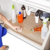 Xtreme Mats Under Sink Kitchen Cabinet Mat, Pick Your Size, 34' 1/4 x 22' 1/4, Waterproof Cabinet Protector & Drip Tray Liner, CM-36-BEIGE