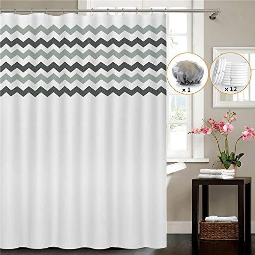 UTAKE Duschvorhäng, Duschvorhänge aus Polyester Wasserabweisend Shower Curtain mit 12 Duschvorhangringen (180 * 180)
