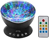 Remote Ocean Wave Projection Lamp - 12 LED Remote Control Undersea Projector Lamp, 7 Color Changing Music Player Night Light for Bedroom Living Room Decoration