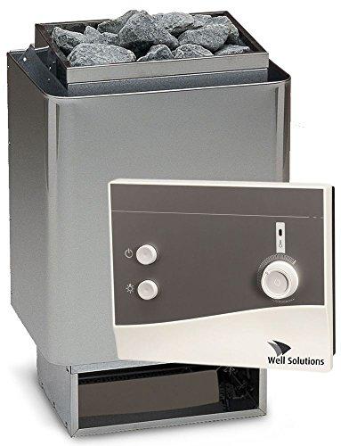 Well Solutions Saunaset 34A Sauna Ofen 6 kW aus Edelstahl – Made in Germany inkl. Steuerung K1, Saunasteine