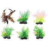 POPETPOP 6 Piezas de Plantas de Pecera Ornamentos Bajo El Agua Planta de Hierba Falsa Acuario Plantas Artificiales Decoración Paisaje Accesorios