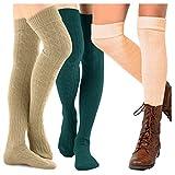 TeeHee Women's Fashion Over the Knee High Socks - 3 Pair Combo (Cable Cuff Dark Combo)