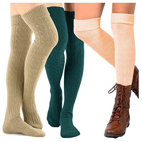 TeeHee Women's Fashion Over the Knee High Socks - 3 Pair Combo (Cable Cuff Basic Combo)