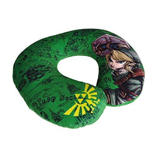 Elbenwald The Legend of Zelda Nackenkissen mit Link, Triforce und Karte von Hyrule 31,5 x 29 x 8 cm grün