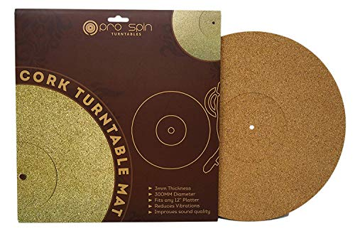 Cork Turntable Mat by Pro-Spin for Vinyl LP Record Players (3mm) High-Fidelity Audiophile Acoustic Sound Support | Help Reduce Noise Due to Static and Dust