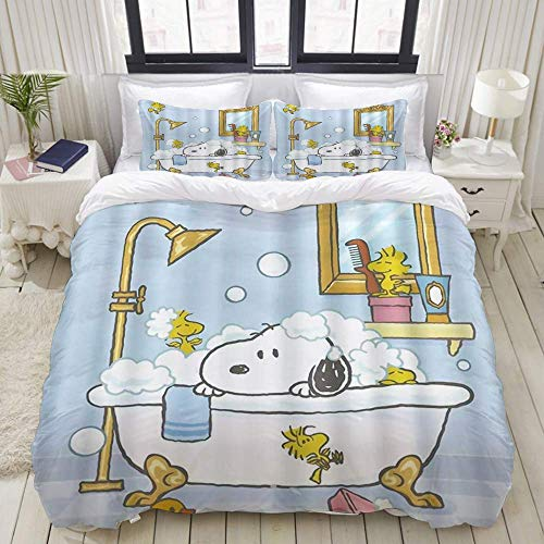 Yaoni Duvet Cover,Playful Dog Bathing in Bathtub Bath Time Beauty Cleaning Pet Theme Illustration,Bedding Set Ultra Comfy Lightweight Microfiber Sets
