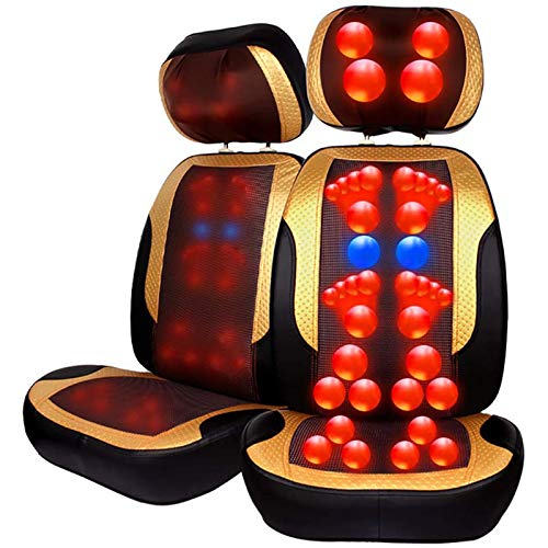 Lzour Back and Neck Massager Shiatsu Massage Chair for Seat Cushion Pad Full Body, 3D Deep Kneading Vibration Heat Relieve Muscle Pain - Home Office Car Use