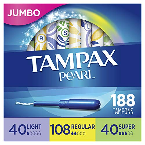 Tampax Pearl Plastic Tampons, Light/Regular/Super Absorbency Multipack, 188 Count, Unscented (47 Count, Pack of 4 - 188 Count Total) - Packaging May Vary