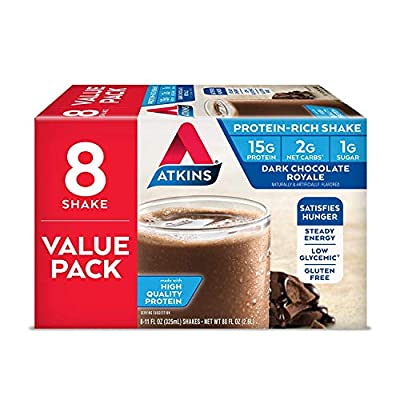 Atkins Gluten Free Protein-Rich Shake, Dark Chocolate Royale, Keto Friendly