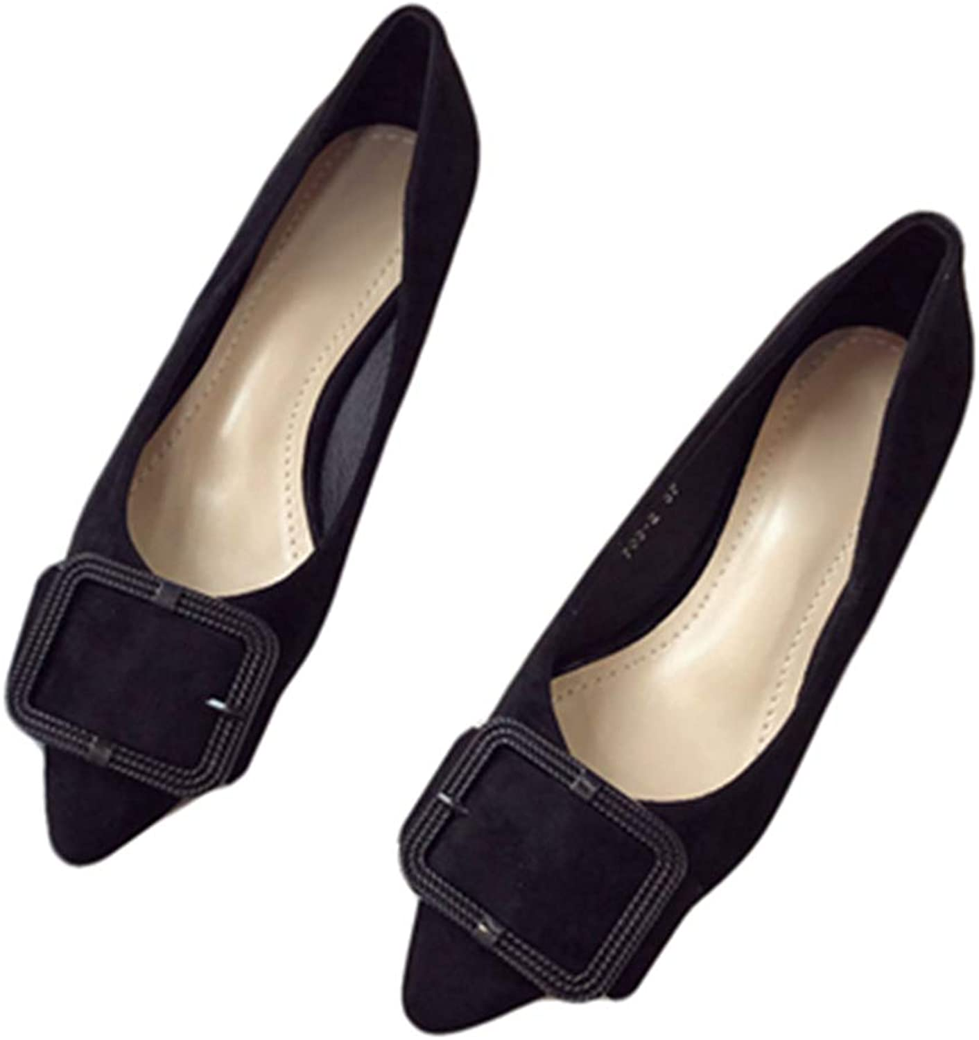 Kyle Walsh Pa Women Pumps shoes Metal Buckle Pointed Toe Block Heel Female Low-Heel Office Footwear