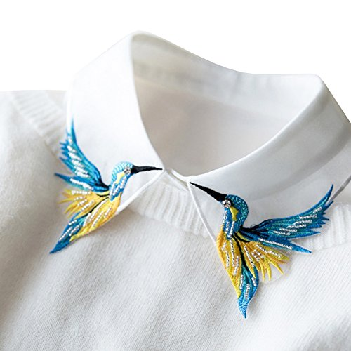 Shinywear Beads Embroidered False Shirt Collar Casual Detachable Lapel Retro British Dicky White, One Size