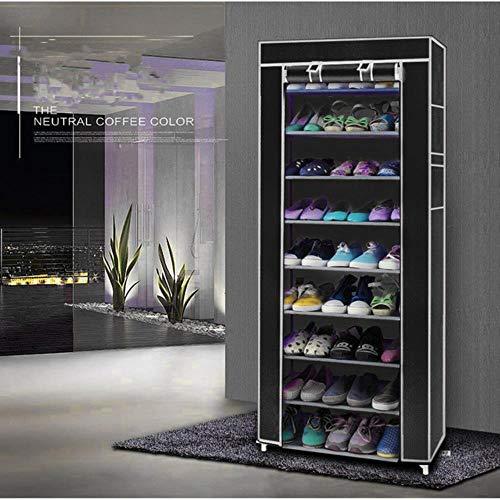 10 capas de acero inoxidable zapatero hogar organizador para zapatos estante gabinete a prueba de polvo estantes de hierro para zapatos estante de almacenamiento estante-negro, Estados Unidos