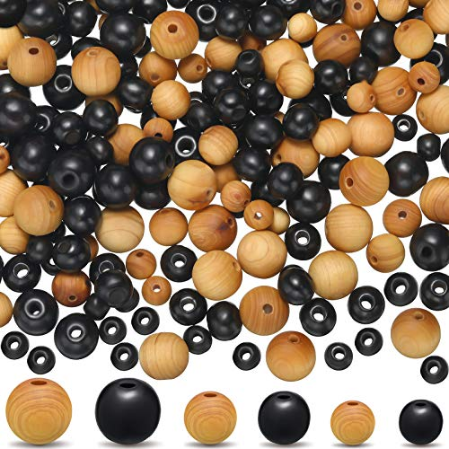 300 Pieces Natural Wood Round Beads Handmade Polished Spacer Beads Wooden Loose Beads Crafts for Spring Easter Jewelry Making DIY Bead Garland Crafts (Khaki and Black,6 mm, 8 mm, 10 mm)
