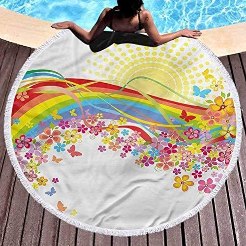 Nazi Mie Runder Strandwurf Handtuch Regenbogen Runder Wandteppich Sonne hinter der Frühlingszeit Stranddecke