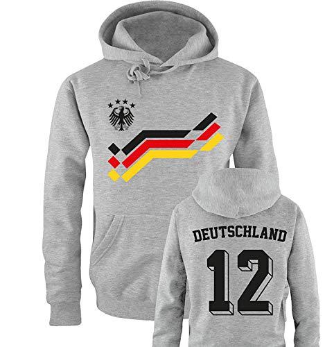 Comedy Shirts EM 2016 - Retro-Trikot - Deutschland - 12 - Herren Hoodie - Grau/Schwarz-Rot-Gelb Gr. XL