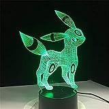 HYDYI Pokemon Umbreon 3D Acryl Nachtlicht USB Schlaf Licht 3Aa Batterie 7 Farben Ändern Tischlampe...