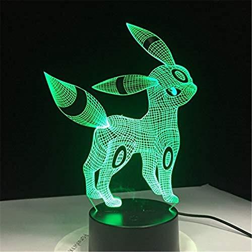 HYDYI Pokemon Umbreon 3D Acryl Nachtlicht USB Schlaf Licht 3Aa Batterie 7 Farben Ändern Tischlampe Schlafzimmer Dekor Kinder Geschenk