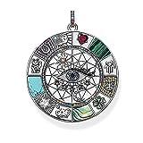 Anhänger Amulett Magische Glückssymbole Goldener Schmuck Vintage Reines 925 Sterling Silber Kraftvolles Geschenk Für Frauen Männer