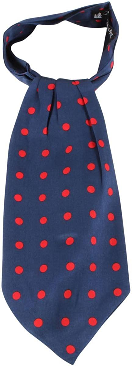Knightsbridge Neckwear Mens Polka Dot Silk Cravat - Navy/Red