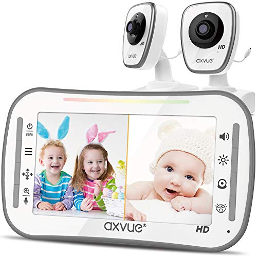 [HD] Video Baby Monitor, AXVUE 720P 5' HD Display, IPS Screen, 2 HD Cams,...