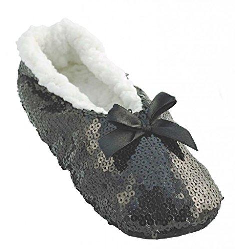 RJM Ladies Sequinned Indoor Slipper Sock Schwarz S/M